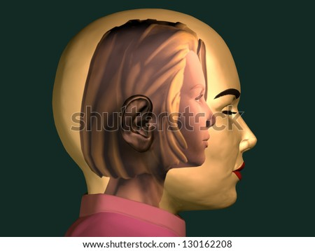 portrait of a young girl inside of a female head