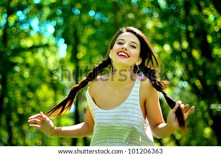 Portrait of a young girl laughing