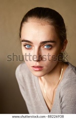 portrait of a young girl with blue eyes - Shutterstock ID 88226938