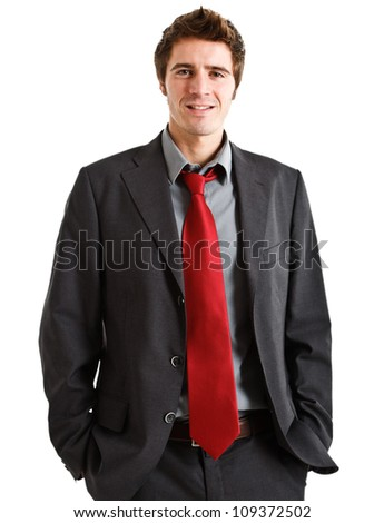 Portrait of a young handsome businessman isolated on white