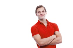 Portrait of a young handsome man wearing red t-short isolated on white background