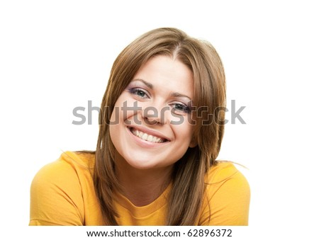Portrait of a young happy woman against white background