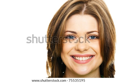 Portrait of a young happy woman against white background. Close-up isolated