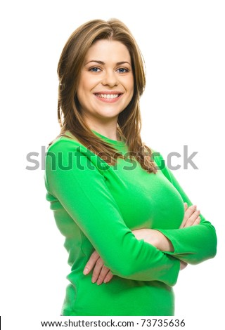 Portrait of a young happy woman isolated on white background