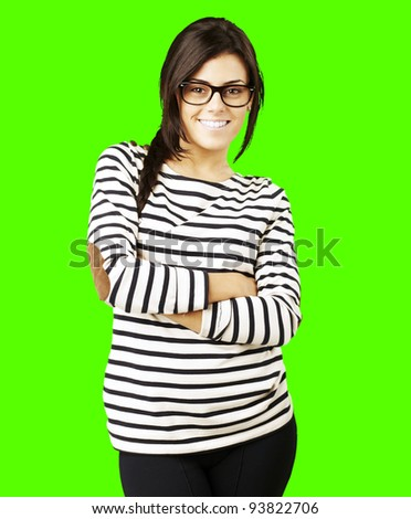 portrait of a young happy woman posing against a removable chroma key background stock photo
