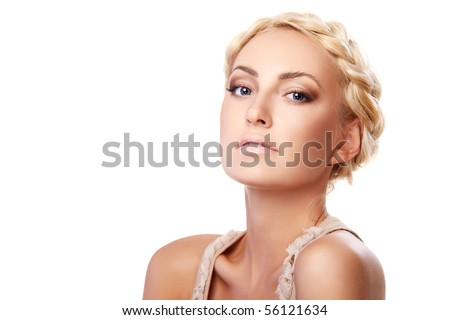 Portrait of a young lady with a braid isolated on white background