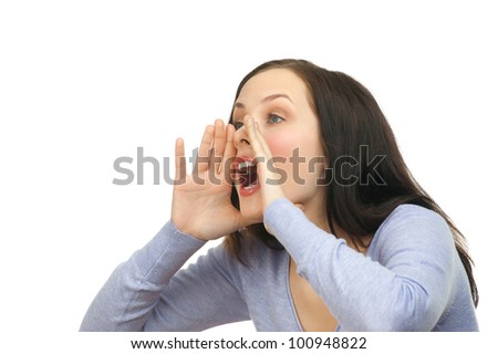 Portrait of a young lovely woman screaming out loud, isolated on a white background