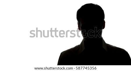 Portrait of a young man, front view - silhouette #587745356