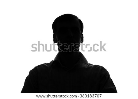 Portrait of a young man in front view - silhouette #360183707