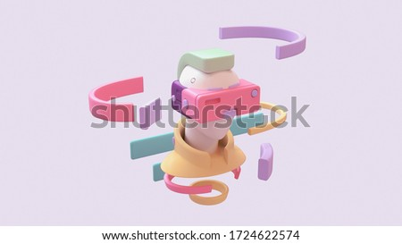 Portrait of a young man in yellow jacket with green hair using pink purple virtual reality VR headset. Abstract man wears VR floating in the air sees infographic, interface. 3d render in pastel colors