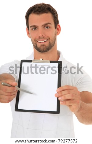 Portrait of a young man pointing on clipboard. All on white background.