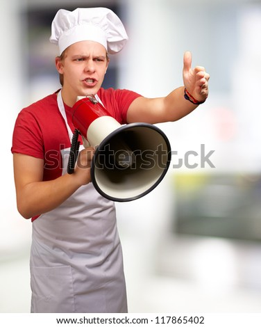 Portrait Of A Young Man With Megaphone, Background