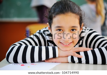 Portrait of a young pretty arabic schoolgirl