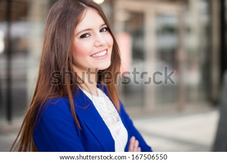 Portrait of a young smiling woman stock photo