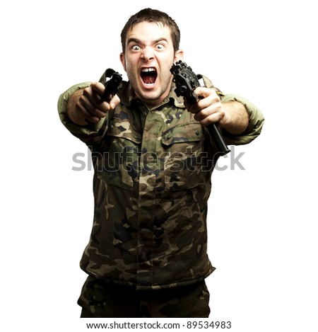 portrait of a young soldier aiming with pistol against a white background background background