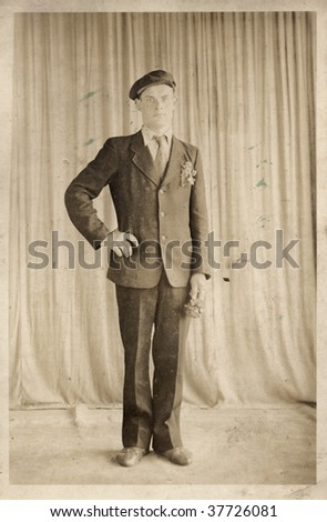 Portrait of a young Soviet man. Retro Photos. 30-s XX Century, USSR.