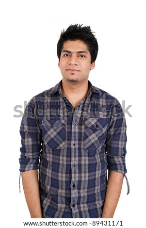 Portrait of a young stylish Indian man isolated on white - stock photo