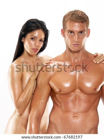 Portrait of a young undressed couple on white background. Portrait of a shaped and healthy young couple on white background. - stock photo