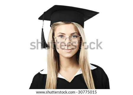 Portrait of a young woman in an academic gown. Educational theme. - stock photo