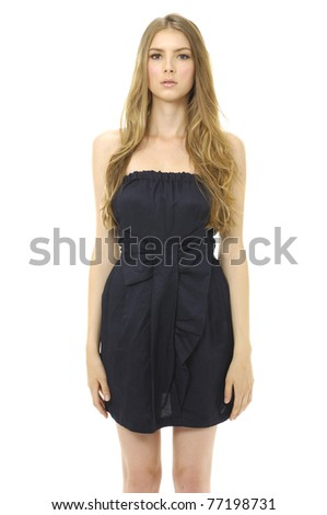 Portrait of a young woman in black dress on white background