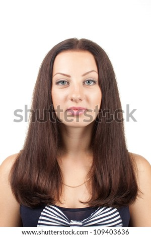 portrait of a young woman isolated on white background