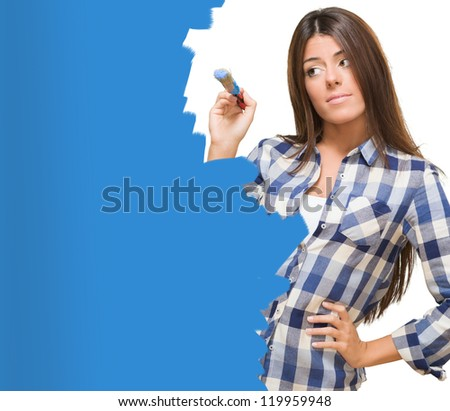 Portrait Of A Young Woman Painting On White Background