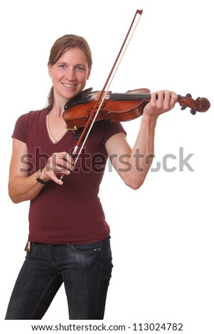Portrait of a young woman playing violin on white background