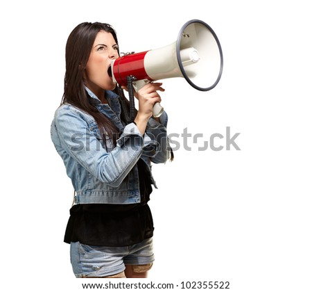 portrait of a young woman screaming with a megaphone against a white background