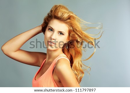Portrait of a young woman with beautiful hair.