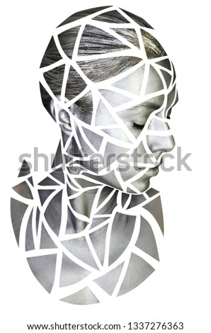 Portrait of a young woman with gray makeup. Silver triangles drawn on woman face. Isolated on white.