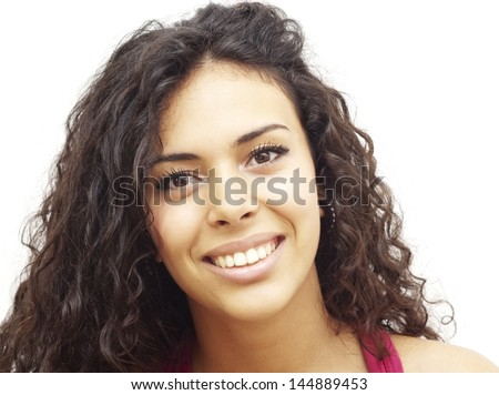 Portrait of a young  woman with red shirt over white background - Shutterstock ID 144889453