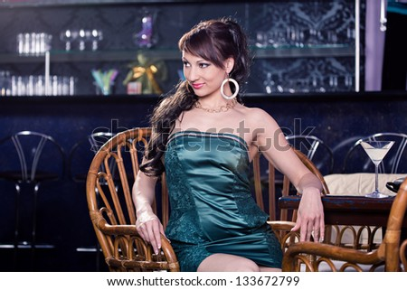 portrait of a young women in the bar