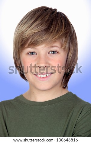Portrait of adorable child isolated on a over blue and white background