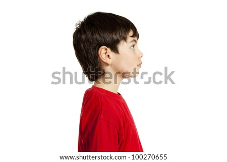 Portrait of adorable little boy, isolated on white background