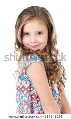 Portrait of adorable smiling  little girl isolated on a white #516649255