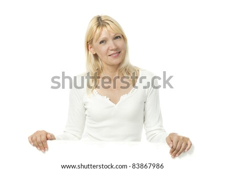 stock photo portrait of adult woman with empty bulletin board smiling at camera 83867986 thick black babe with 50 inch booty