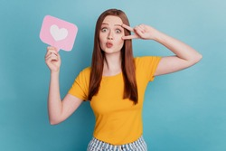 Portrait of affectionate lady hold like notification v-sign cover eye blow air kiss on blue background