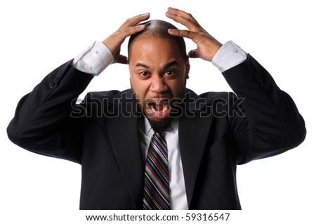 Portrait of African American businessman expressing frustration isolated over white background