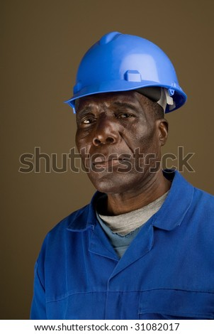 Portrait of African American Construction Worker, Handyman, Electrician, Carpenter
