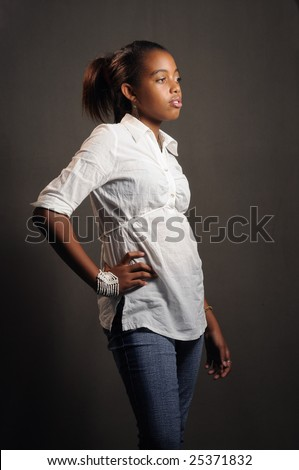 Portrait of african american fashion teen girl posing