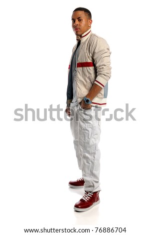 Portrait of African American man standing isolated over white background