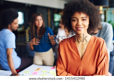 Portrait of African businesswoman leading on this business meeting  #1415412980