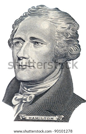Portrait of Alexander Hamilton in front of the ten dollar bill