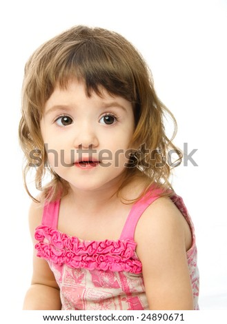 portrait of an adorable one year old girl against white background #24890671