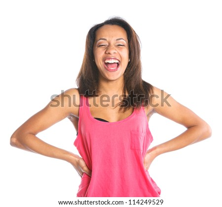 Portrait of an adorable young laughing girl. Isolated white backround