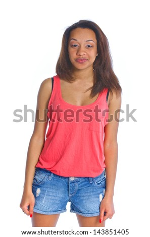 Portrait of an adorable young smiling mulatto girl. Isolated white backround