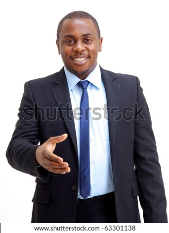 Portrait of an African American business man with an open hand ready to seal a deal