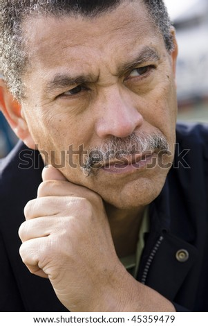 Portrait of an African American Man Looking Away From Camera