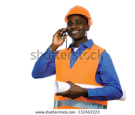 Portrait of an African American talking on the phone and holding a draft