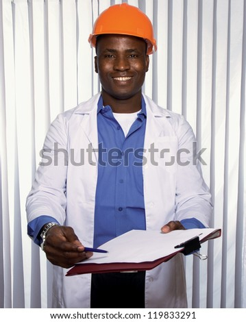 Portrait of an African American with folder